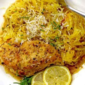 Chef Michele McQueen's Lemon Grilled Chicken over spaghetti meal prep product image